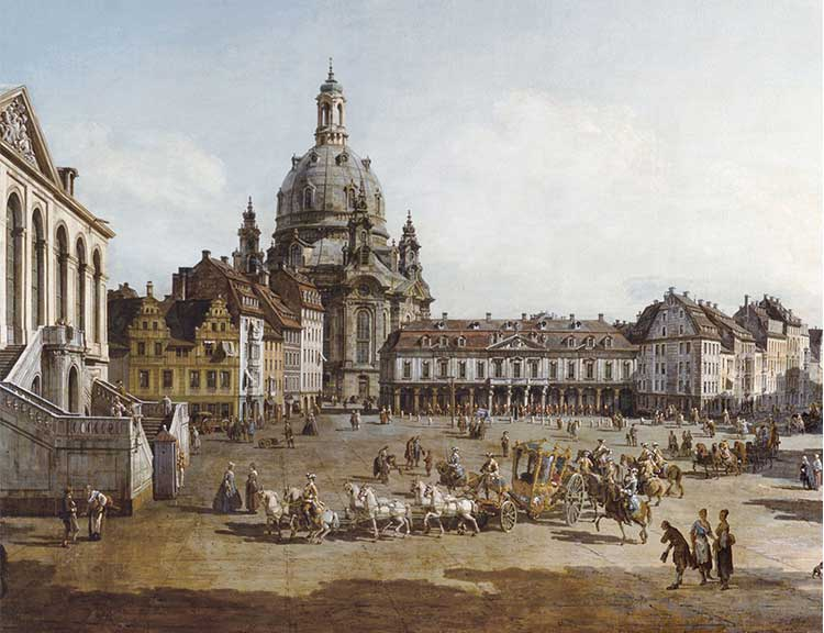Coloured etching of the Dresden Frauenkirche.