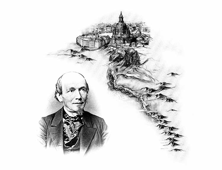 Drawing of Dresden and Saxony, black-and-white photo of F.A. Lange.