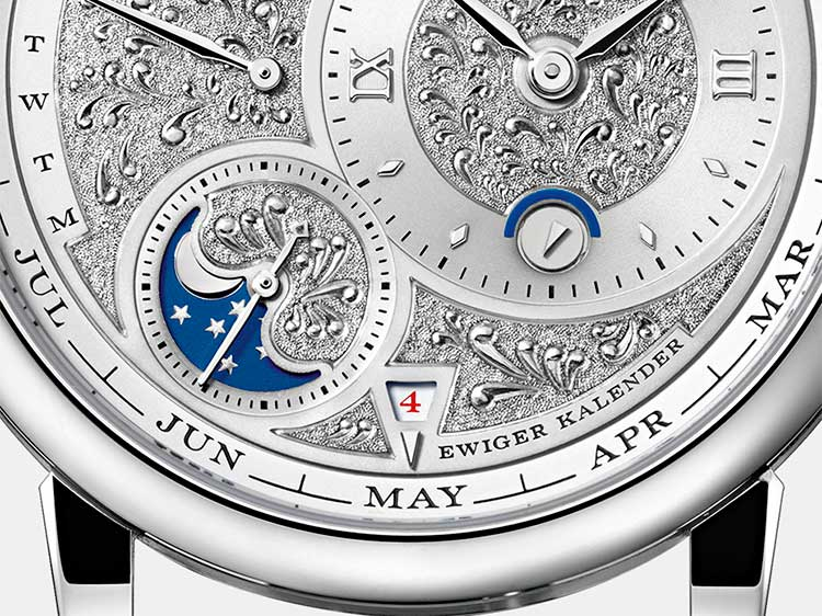 LANGE 1 TOURBILLON PERPETUAL CALENDAR HANDWERKSKUNST in platinum with lavish finissage (720.048)