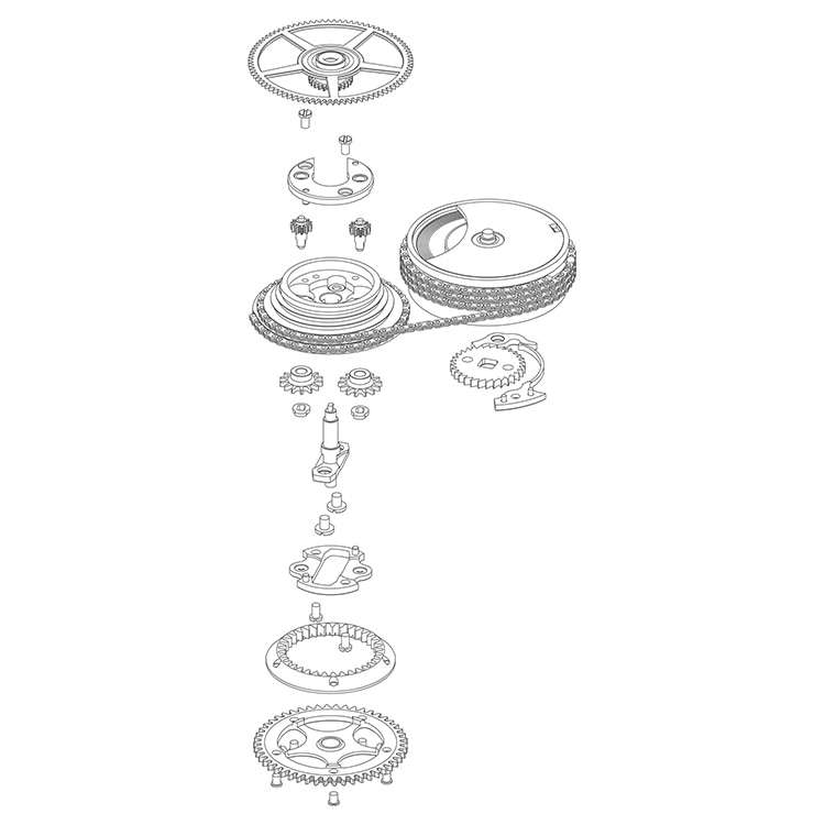 Exploded view of the fusée with the integrated planetary gearing