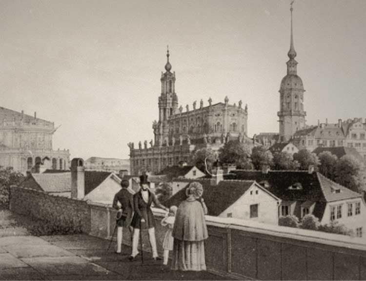 Passers-by on a bridge with a view of the royal palace