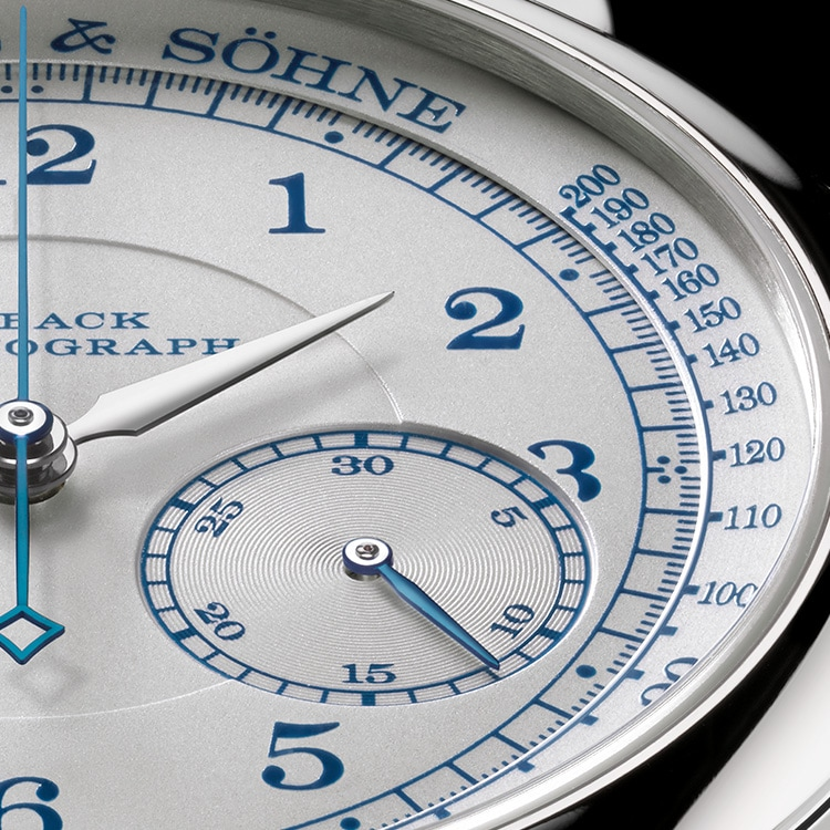 The 1815 CHRONOGRAPH Boutique Edition features blue numerals and a pulsometer scale.