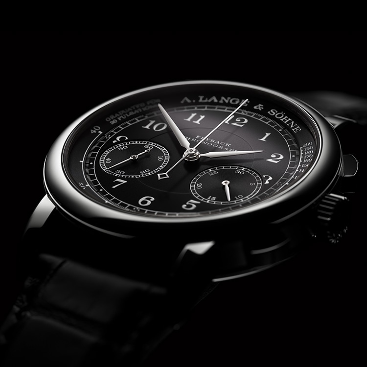 The 1815 CHRONOGRAPH features a deep-black, solid silver dial and rhodiumed hands made of gold and steel.