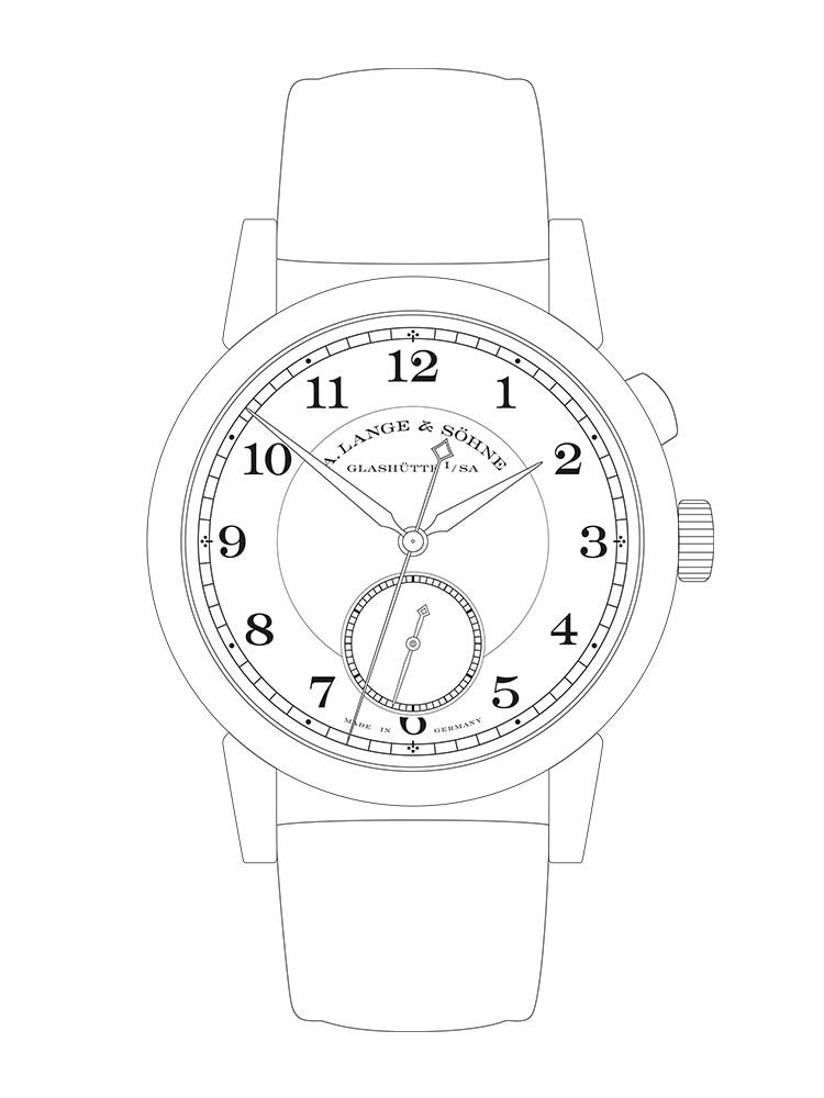 """Features of the 1815 """"Homage to Walter Lange"""": Displays time in hours, minutes and a small second hand with stop-seconds, jumping seconds and start-stop function."""