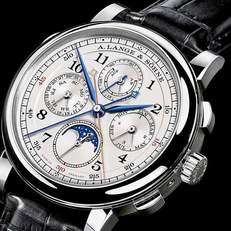 The 1815 RATTRAPANTE PERPETUAL CALENDAR combines a perpetual calendar and a stopwatch in a single timepiece.
