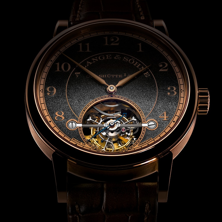 This picture of the 1815 TOURBILLON HANDWERKSKUNST in pink gold shows the large minute tourbillon.
