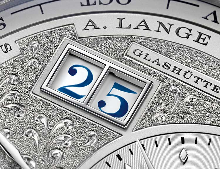 Hand-engraved dial of the LANGE 1 TOURBILLON PERPETUAL CALENDAR HANDWERKSKUNST.