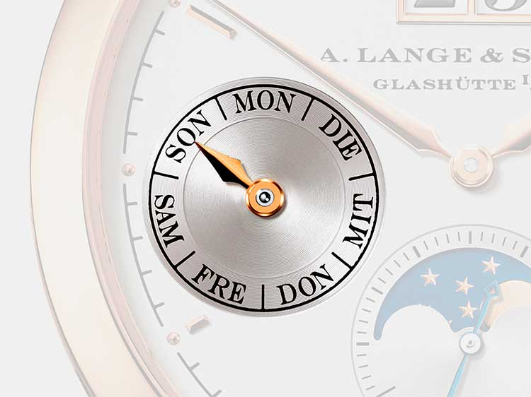 Day-of-week display of an A. Lange & Söhne timepiece with calendar functions