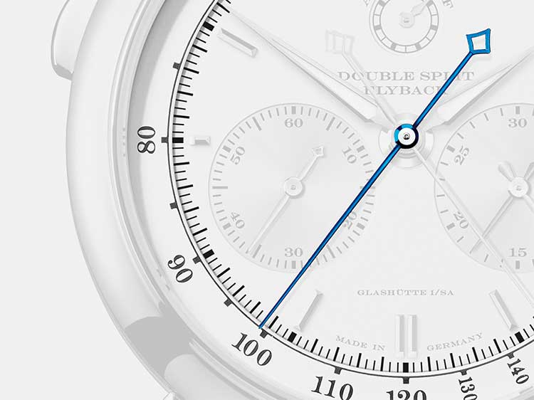 At A. Lange & Söhne, timepieces with the chronograph function are often endowed with an additional rattrapante function, symbolised here with the blue rattrapante hand.