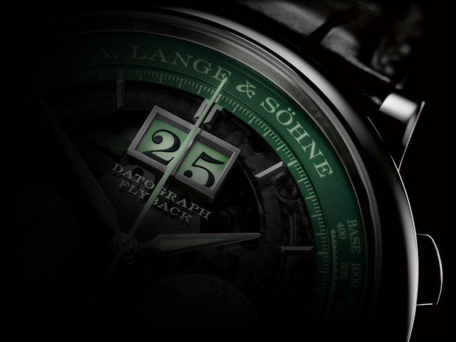 The new DATOGRAPH UP/DOWN LUMEN timepiece with a luminous display on a black background