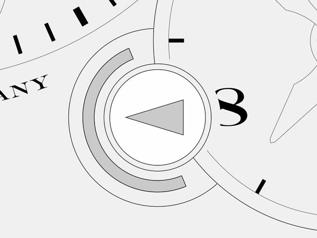 Technical drawing of a day/night indicator on the dial.