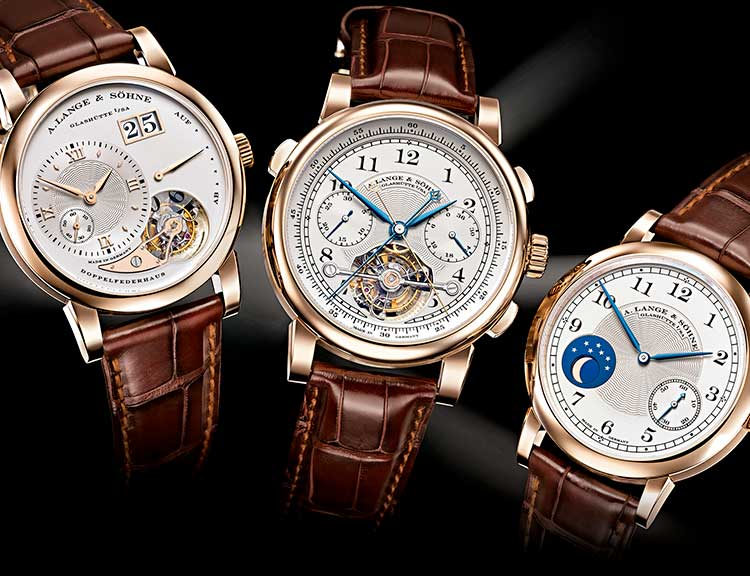 "Image of the trilogy with the TOURBOGRAPH ""Pour le Mérite"", the LANGE 1 TOURBILLON ""Homage to F.A. Lange"" and the 1815 MOON PHASE ""Homage to F.A. Lange"""