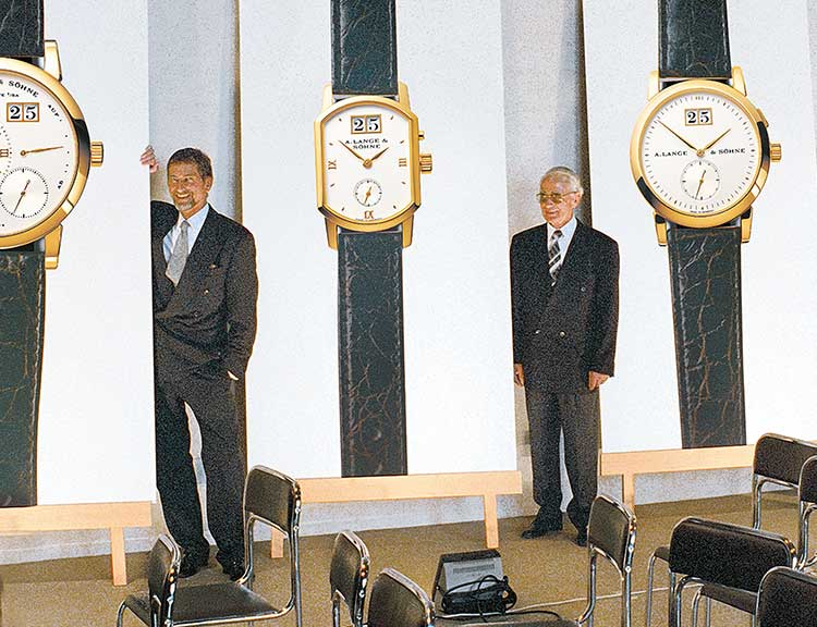 Günter Blümlein, Walter Lange and Hartmut Knothe at the first watch presentation by A. Lange & Söhne in 1994.