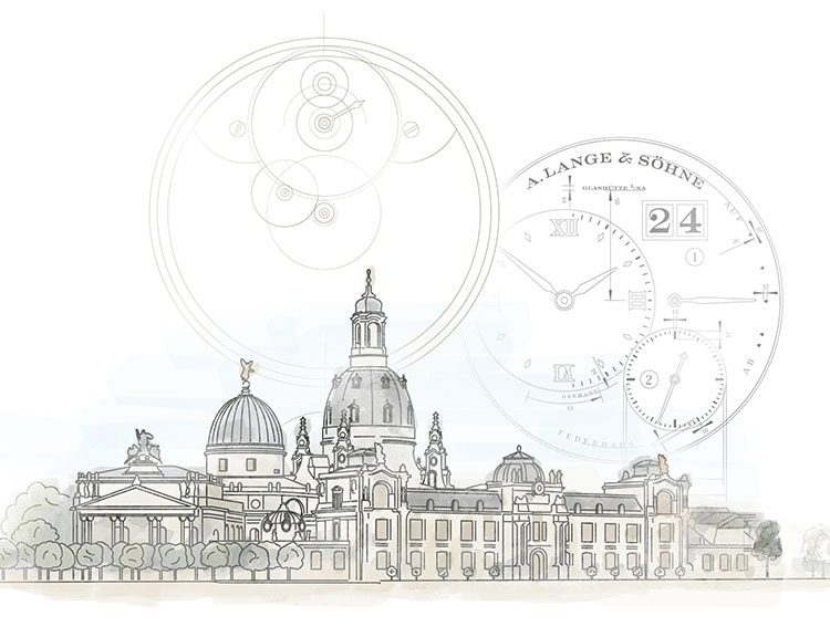 Drawing of the Dresden Semperoper opera house and quote from Walter Lange, 'Never stand still'.