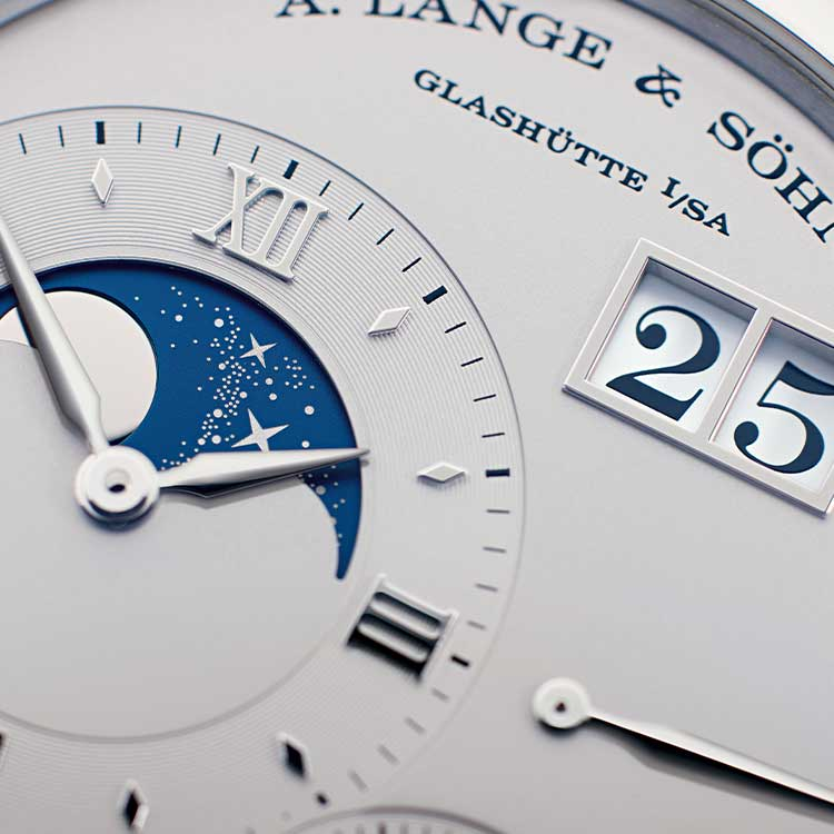 The GRAND LANGE 1 MOON PHASE in platinum gold gives the earth's satellite pride of place on the main dial made of silver.