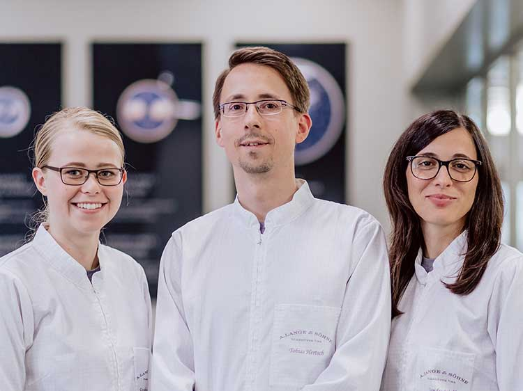 Young watchmakers in the new manufactory building in Glashütte