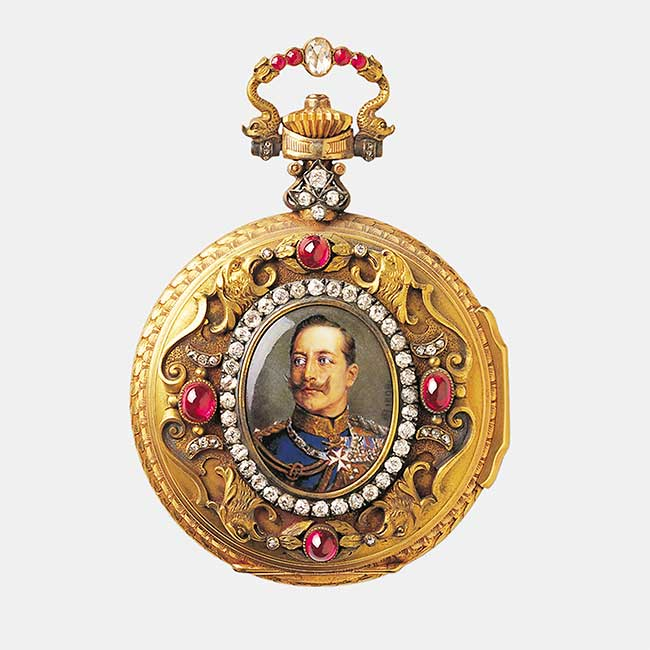 Front side of a pocket watch with an enamel portrait of the German Kaiser