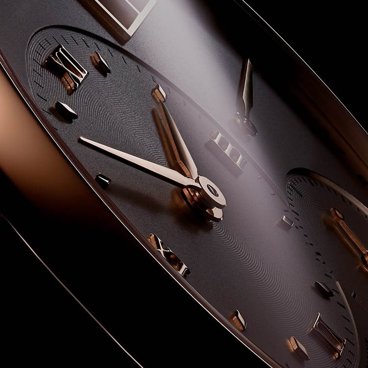The depth of the appliques and Roman numerals of the LANGE 1 in pink gold (191.032) comes to the fore in the side view.