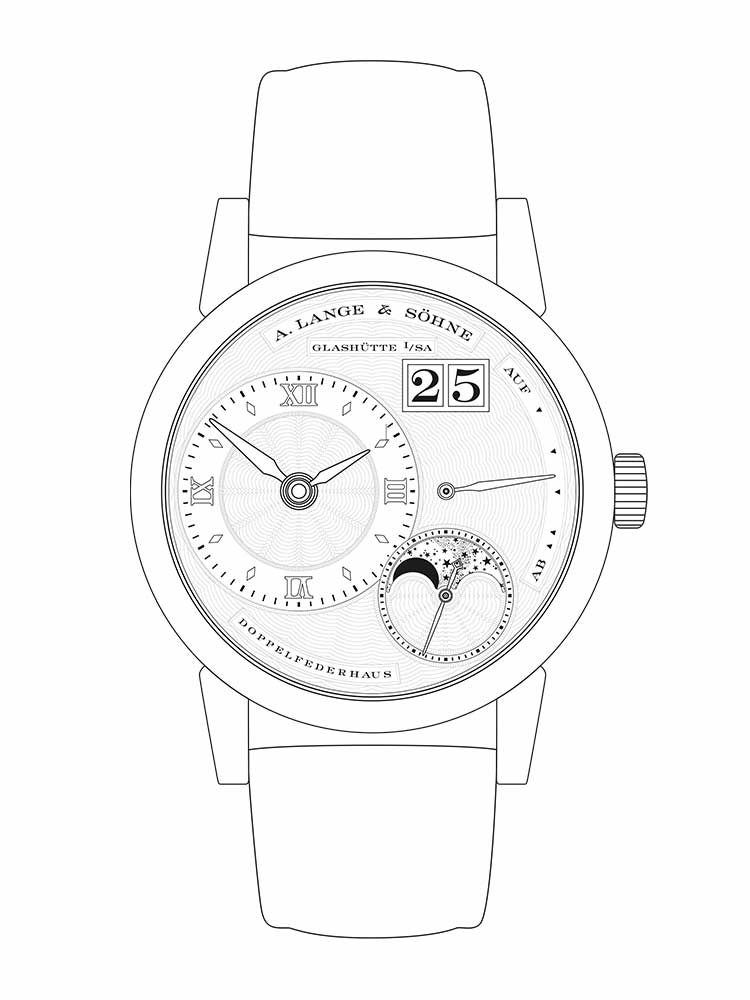 Features of the LITTLE LANGE 1 MOON PHASE: off-centre time display, small seconds dial with stop-seconds, moon phase display, outsize date, up/down power reserve indicator