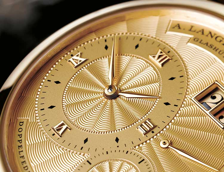 Detail of the LANGE 1A with a gold dial