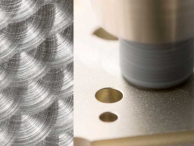 The cloud-like perlage pattern is produced with a rotating abrasive peg