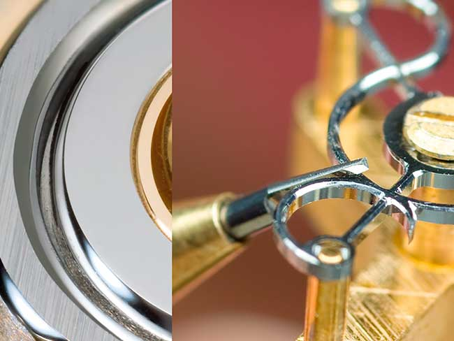 Polishing of internal angles with a fine watchmaker's tool in close-up