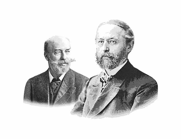 Black-and-white photo of brothers Richard and Emil Lange.