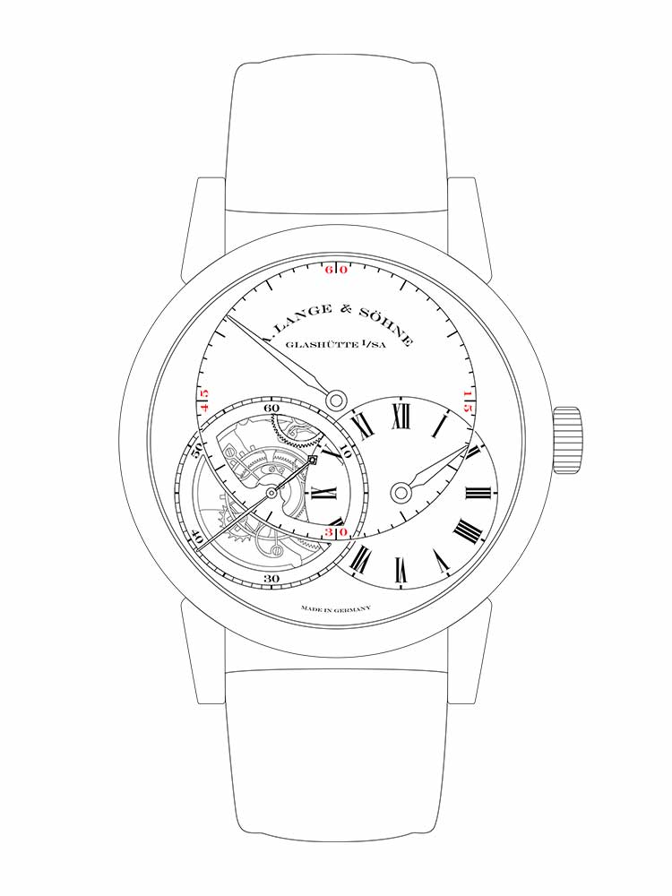 """Features of the RICHARD LANGE TOURBILLON """"Pour le Mérite"""": Small hour with pivoting dial segment, large minute, small second connected to the tourbillon and with stop-seconds, 36-hour power reserve."""