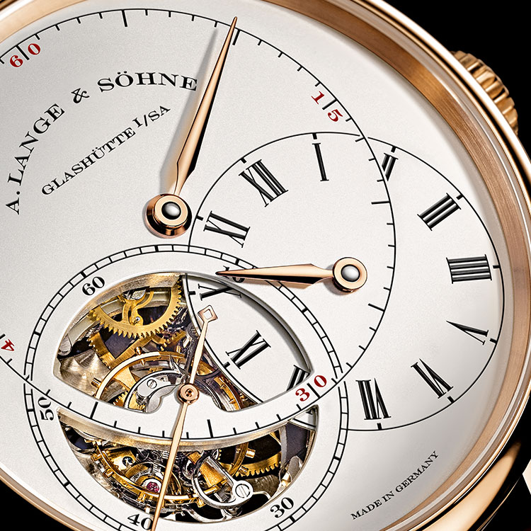 """The case of the RICHARD LANGE TOURBILLON """"Pour le Mérite"""" is made of 18-carat pink gold, while the dial is made of solid silver."""