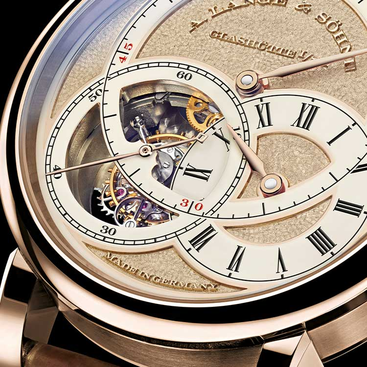 """The case of the RICHARD LANGE TOURBILLON """"Pour le Mérite"""" HANDWERKSKUNST is made of honey-colour gold that is about twice as hard as yellow gold, making it much more robust against the effects of aging."""