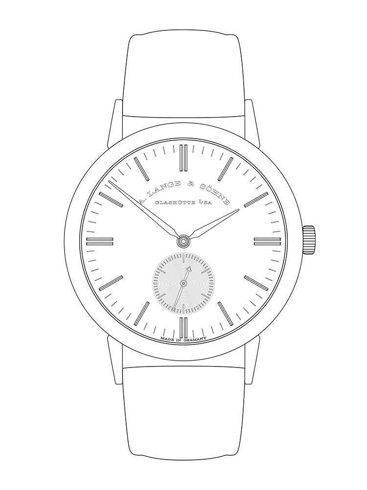 Features of the SAXONIA: hours and minutes, small seconds with stop seconds.