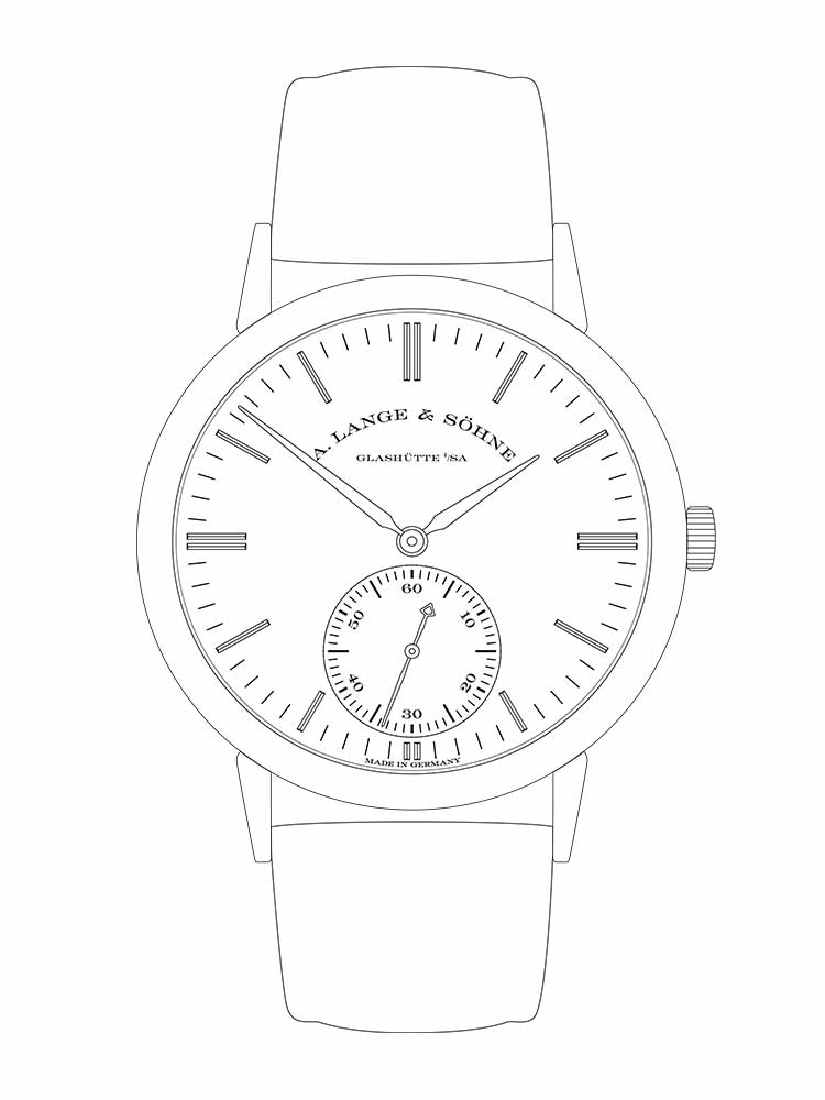 Features of the SAXONIA AUTOMATIC: hours and minutes, small seconds, stop seconds.