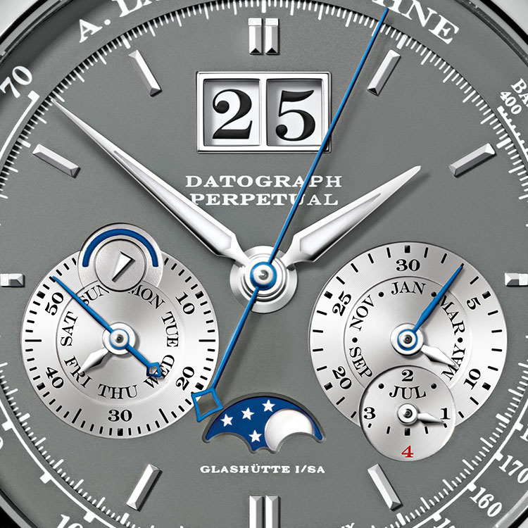 The perpetual calendar of the DATOGRAPH PERPETUAL timepiece in white gold requires no adjustment until the year 2100, when a one-day correction is needed.