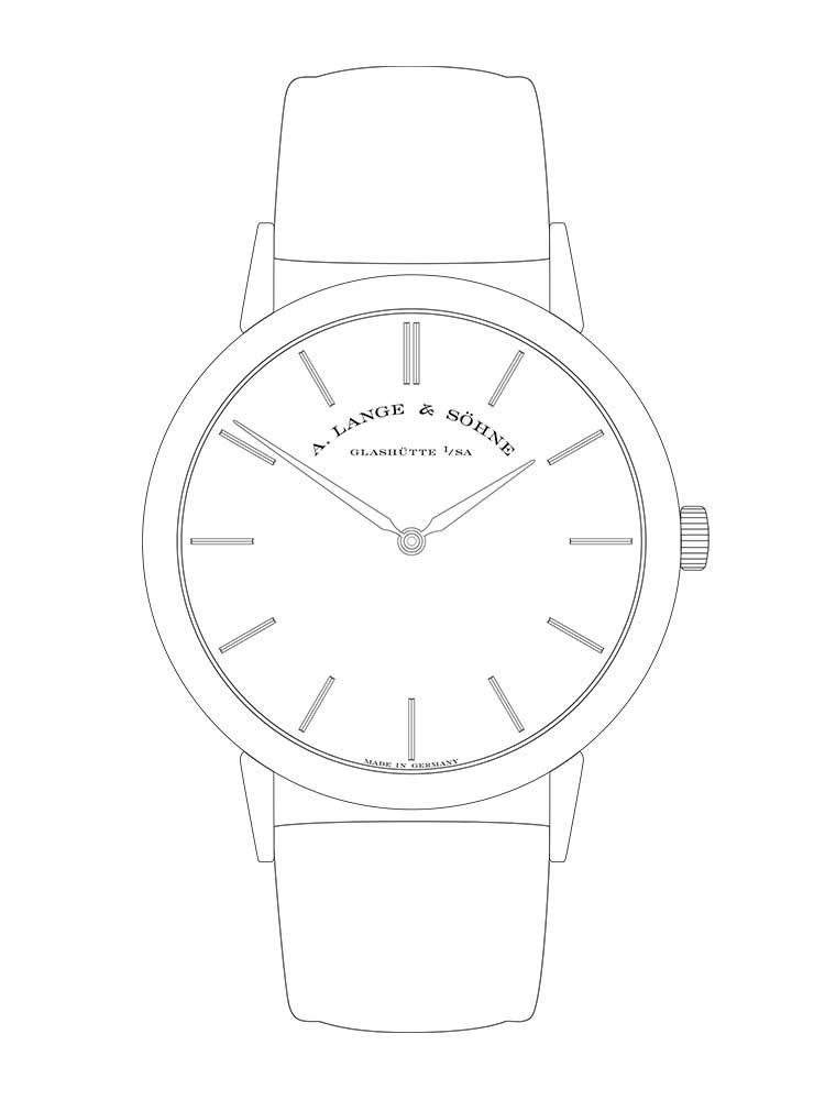 The SAXONIA THIN tells time in hours and minutes.