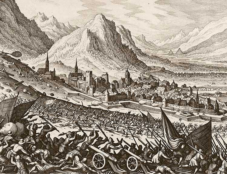 Drawing of a bloody battle. Glashütte can be seen in the background.