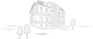Drawing of the headquarters of A. Lange & Söhne in Glashütte, Saxony.