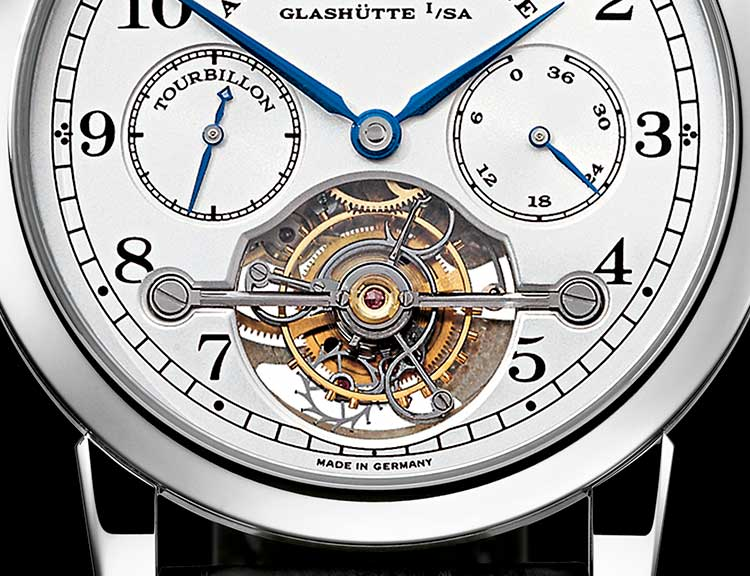 "Detail of the TOURBILLON ""Pour le Mérite"" in platinum with a focus on the tourbillon"