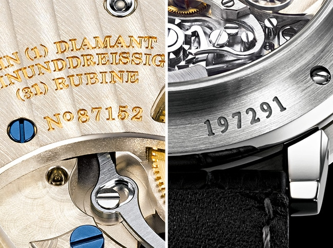 Movement and case number on the back of every A. Lange & Söhne timepiece