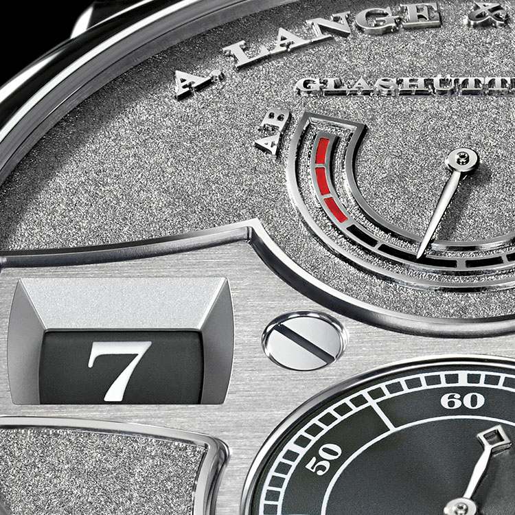 Functions of the ZEITWERK HANDWERKSKUNST in platinum: jumping numerals display for hours and minutes, subsidiary seconds with stop seconds, UP/DOWN power-reserve indicator, 36 hours power reserve.
