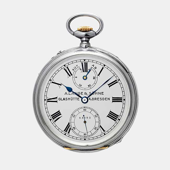 A. Lange & Söhne pocket watch with Roman numerals and blued hands.