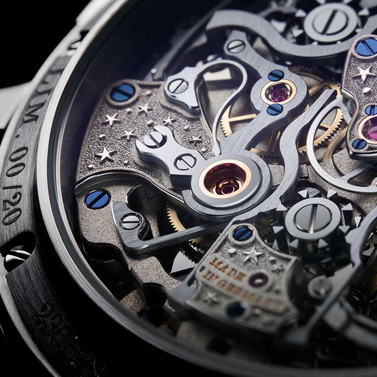 The star motif appears on many calibre components of the 1815 RATTRAPANTE PERPETUAL CALENDAR HANDWERKSKUNST.