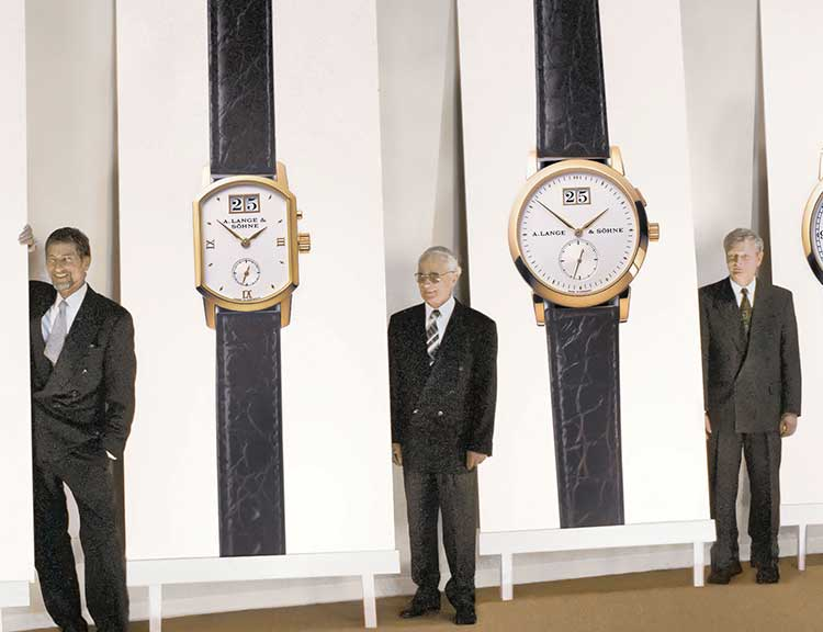 Günter Blümlein, Walter Lange and Hartmut Knothe at the debut of the new A. Lange & Söhne models in 1994