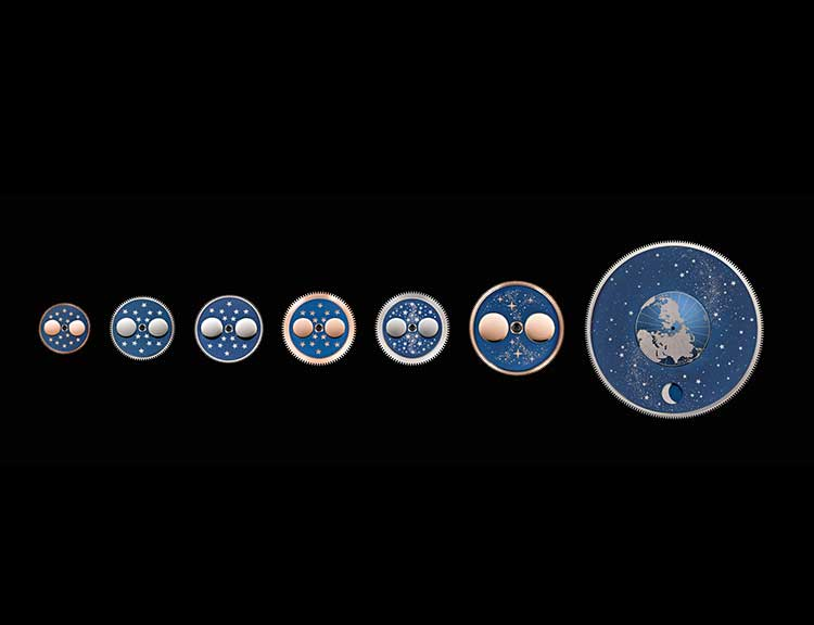 Several concepts for displaying the moon phases