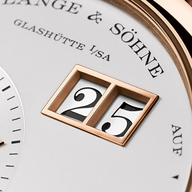 LANGE 1 model with an outsize date in pink gold