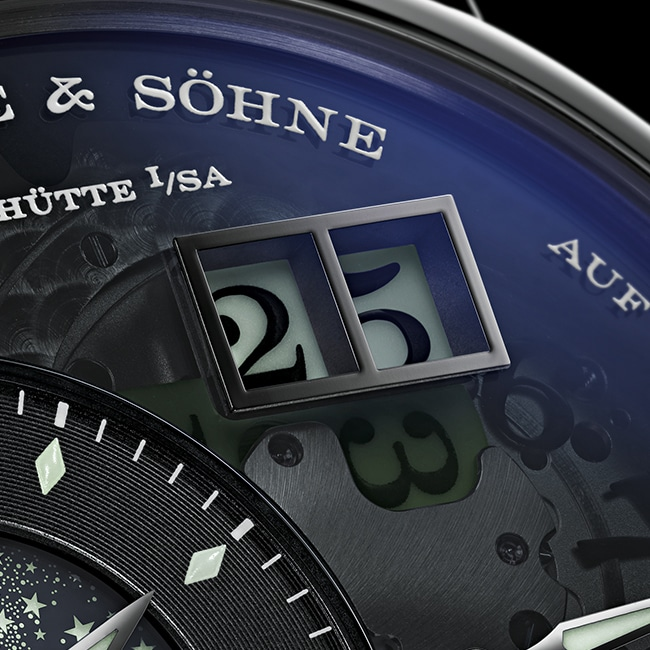 LANGE 1 model with an outsize date in blue
