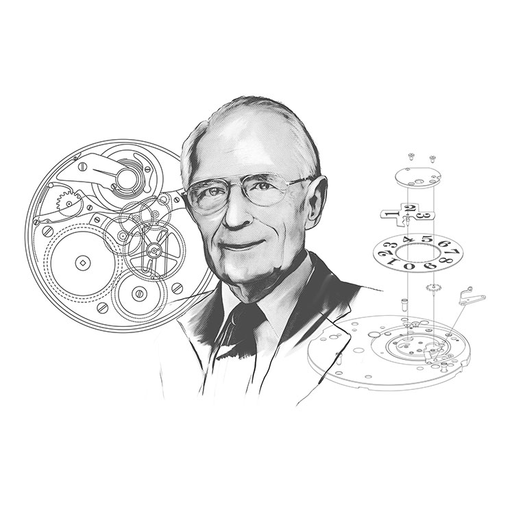 Illustrated portrait of Walter Lange with movement and outsize date mechanism