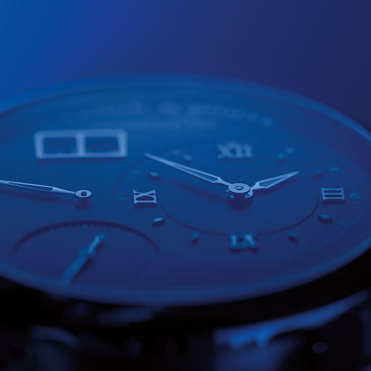 The LANGE 1 DAYMATIC is the first watch in the LANGE 1 watch family with a self-winding movement.