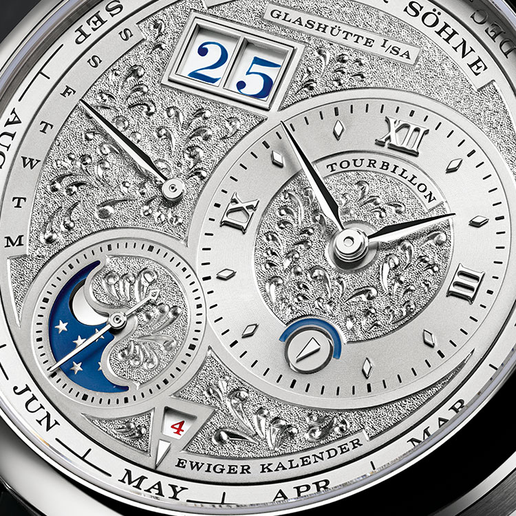 The LANGE 1 TOURBILLON PERPETUAL CALENDAR HANDWERKSKUNST is available in a limited edition of 15 timepieces in platinum with hand-engraved, white gold dial in rhodié.