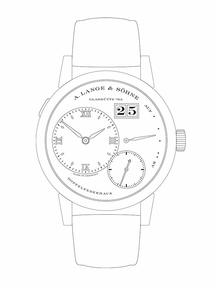 Features of the LANGE 1: off-centre time display, small second hand with stop seconds, jumping outsize date, up/down power reserve indicator, 72-hour power reserve.