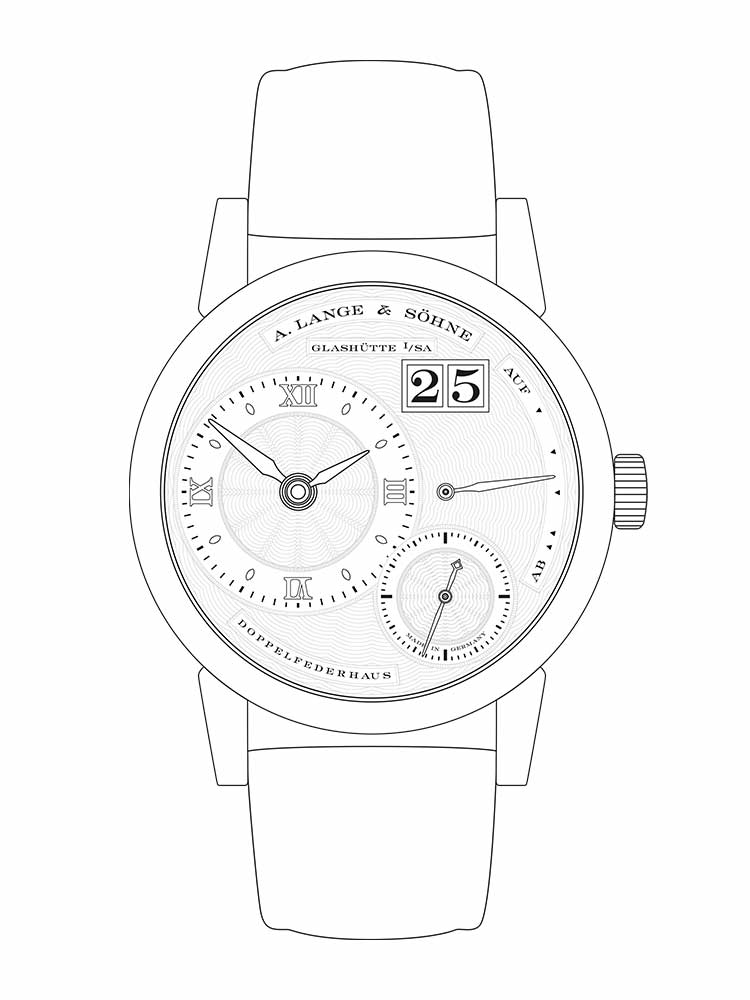 Features of the LITTLE LANGE 1: off-centre time display, small seconds dial with stop-seconds, jumping outsize date, up/down power reserve indicator, 72-hour power reserve.